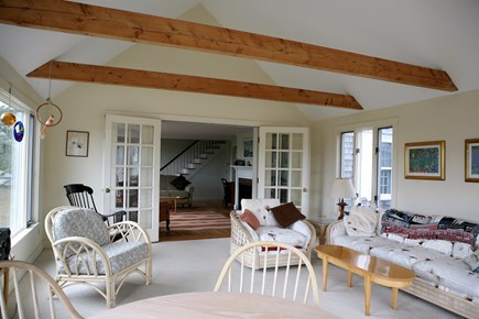 West Harwich Cape Cod vacation rental - Sun room with French doors to living room