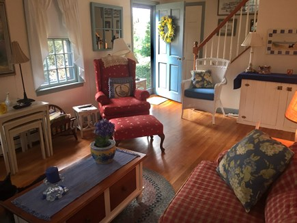 Brewster Cape Cod vacation rental - Living area has TV above fireplace