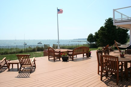 Oceanfront Residential Hyannis Cape Cod vacation rental - Our Deck, Hot Tub, Lawn, and Ocean