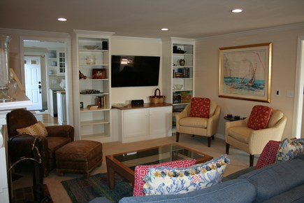 Oceanfront Residential Hyannis Cape Cod vacation rental - Living Room w/Entertainment System, Surround Sound, Games, Books