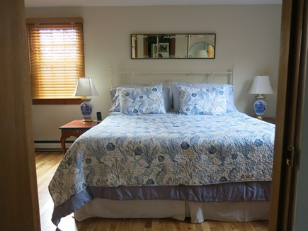 Eastham Cape Cod vacation rental - New window treatments and king size bed in master bedroom.