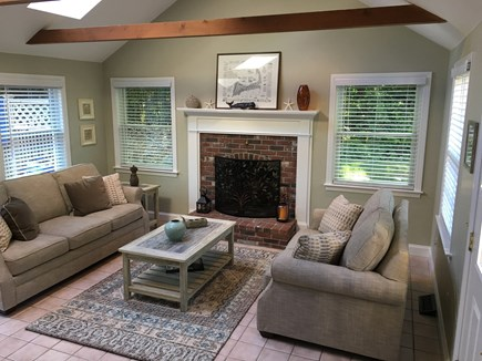 Brewster Cape Cod vacation rental - Family Room with Cathedral Ceiling, Skylights, and Wood Beams
