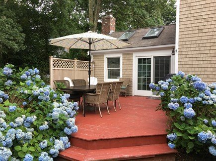 Brewster Cape Cod vacation rental - Rear Deck with New Dining Set and Weber Gas Grill