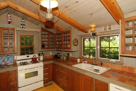 Harwich -  Cape Cod vacation rental - Kitchen has gas cooking, vaulted ceilings.