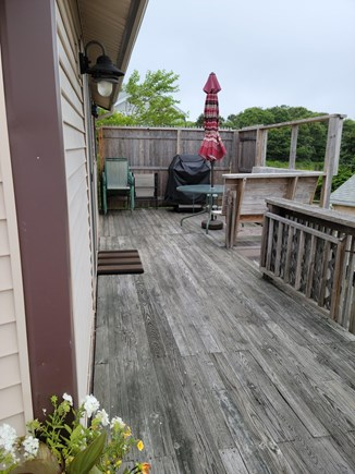 Wareham MA vacation rental - Deck with table and grill