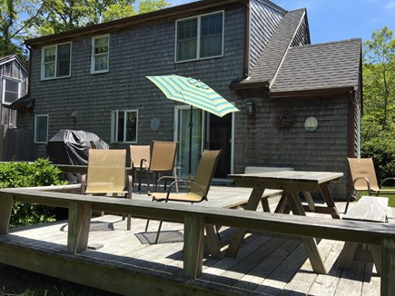 Eastham Cape Cod vacation rental - Deck has picnic table, chairs & benches, and grill