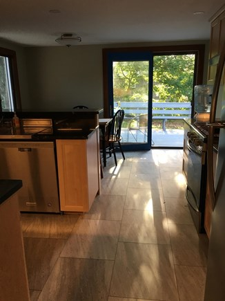 Falmouth, New Silver  Cape Cod vacation rental - Kitchen to back deck with afternoon sun