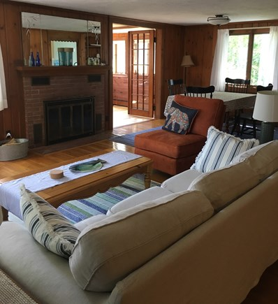 Falmouth, New Silver  Cape Cod vacation rental - Sunny living room with fireplace