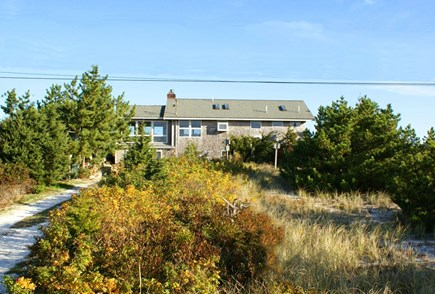 East Sandwich Cape Cod vacation rental - Front view of the house in a very private, natural setting.