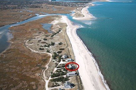 East Sandwich Cape Cod vacation rental - Aerial of house, beach and tidal salt marshes