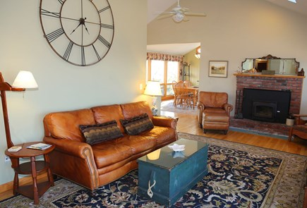 East Sandwich Cape Cod vacation rental - Comfortable seating and fireplace in Living Room.