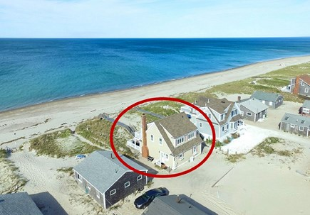 East Sandwich Cape Cod vacation rental - Aerial of house and East Sandwich Beach.