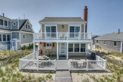 East Sandwich Cape Cod vacation rental - View of house from the dunes with multi level decks.