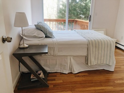 South Dennis Cape Cod vacation rental - Bedroom #2, Full bed, closet, dresser, opening to back porch.