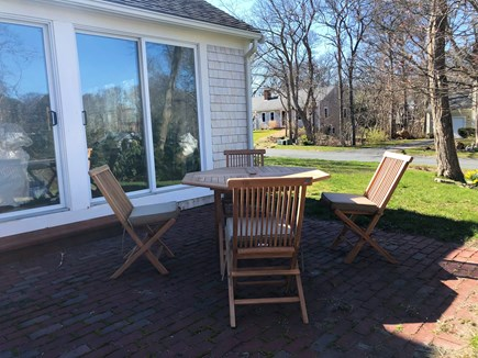 South Dennis Cape Cod vacation rental - Patio seating outside of living room