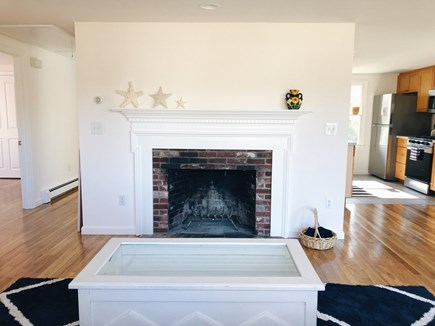 South Dennis Cape Cod vacation rental - Mantel in living area showing house layout