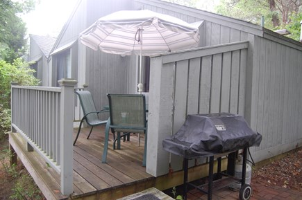 New Seabury, Stendahl Condominiums Cape Cod vacation rental - Our back deck, with our gas grill to the side.