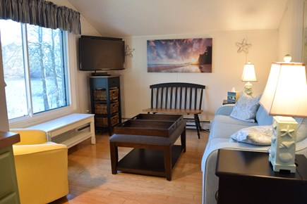 New Seabury, Stendahl Condominiums New Seabury vacation rental - Living Room, overlooking Dean's Pond, renovated 2020