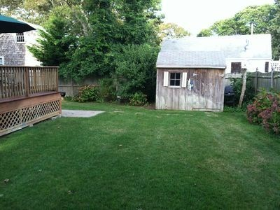 South Yarmouth Cape Cod vacation rental - Fenced in back yard, outdoor shower on side.
