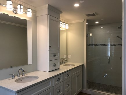 West Yarmouth Cape Cod vacation rental - Two sink Master Bath, shower has bench seat & double showerheads.
