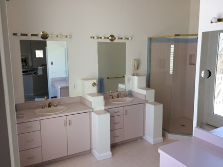 Eastham Cape Cod vacation rental - Master bathroom with three vanities and large walk in shower