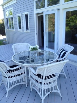 Eastham Cape Cod vacation rental - Cozy deck near kitchen and living room