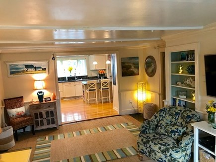 Brewster Cape Cod vacation rental - Living room looking into the kitchen area.