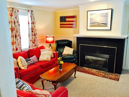 Brewster Cape Cod vacation rental - Family room with gas fireplace and big screen TV.