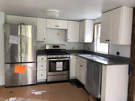 Wellfleet Cape Cod vacation rental - There will be a microwave above the stove in the cottage kitchen