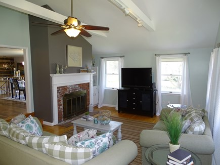 Falmouth Cape Cod vacation rental - Vaulted living room, opens to dining area and kitchen