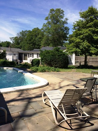 Falmouth Cape Cod vacation rental - July 2017 patio & pool. Rare diving board on the pool!
