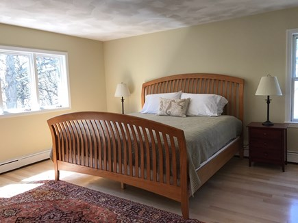 Brewster Cape Cod vacation rental - Sunny first floor Master Bedroom with bath overlooks Canoe Pond.