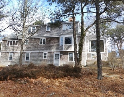 Brewster Cape Cod vacation rental - From pondside yard, back up at the house.