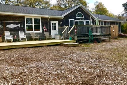 Harwich on the Dennis Border Cape Cod vacation rental - Back Deck includes charcoal and gas grill