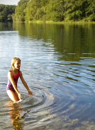 East Falmouth Cape Cod vacation rental - Little girl is bathing in warm water.