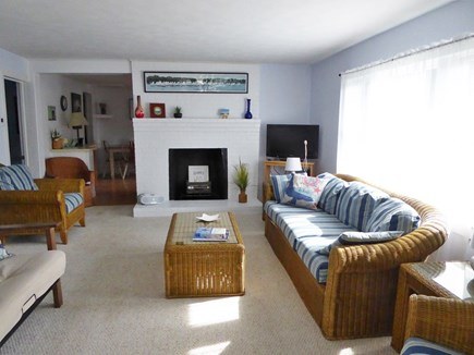Mashpee Cape Cod vacation rental - Living area (non-functioning fireplace)