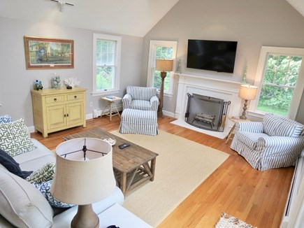 Orleans Cape Cod vacation rental - Stunning vaulted living room has new Pottery Barn furniture