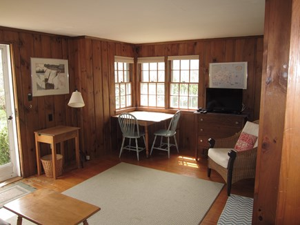 Chatham village Cape Cod vacation rental - Pine paneled light filled living room.