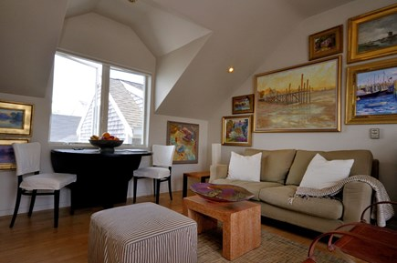 Provincetown Cape Cod vacation rental - Living room, top floor with beautiful art work.