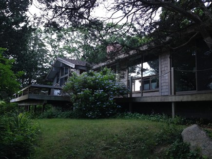 West Falmouth Cape Cod vacation rental - Waterside view of house and deck, very private!