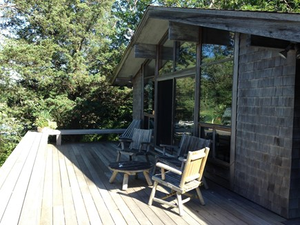 West Falmouth Cape Cod vacation rental - Mahogany Deck:  Built in benches on perimeter seats many!
