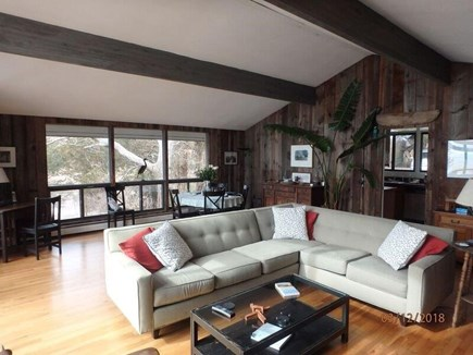 West Falmouth Cape Cod vacation rental - Living-Dining area: Open floor plan with sliders to the deck