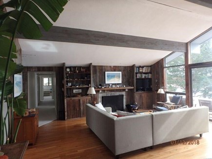 West Falmouth Cape Cod vacation rental - Liv-Dining: Looking toward the flat screen T.V and Fireplace