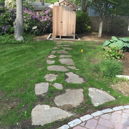 East Falmouth (Great Harbors) Cape Cod vacation rental - Outdoor Shower.  Includes separate changing area.