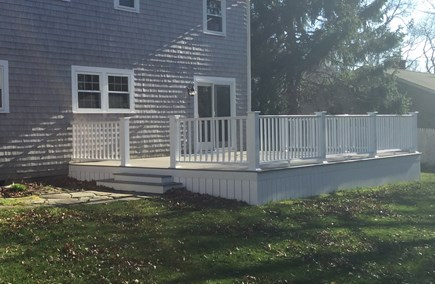 East Falmouth (Great Harbors) Cape Cod vacation rental - 16x24 foot deck with picnic table and buffet (not shown).