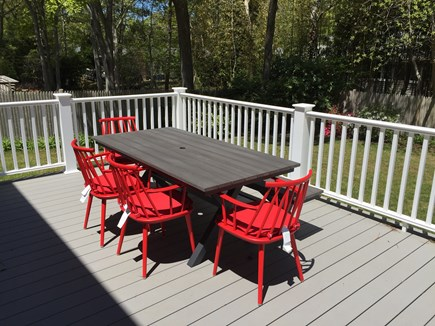 East Falmouth (Great Harbors) Cape Cod vacation rental - Deck with table and chairs for dining or relaxing