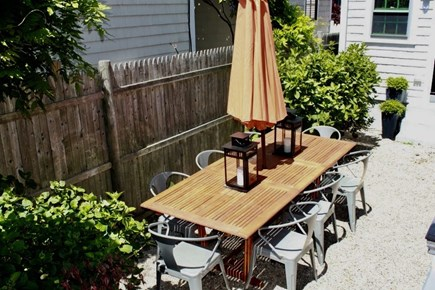 Provincetown Cape Cod vacation rental - The sunket back patio with an outdoor shower and grill