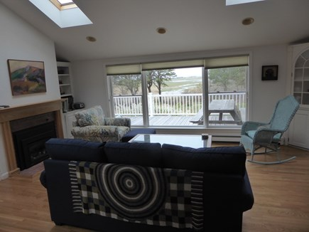 North Eastham Cape Cod vacation rental - Living Room facing front deck, marsh and bay