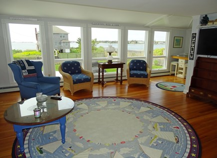 West Yarmouth Cape Cod vacation rental - Living room with panormaic water views, flatscreen TV