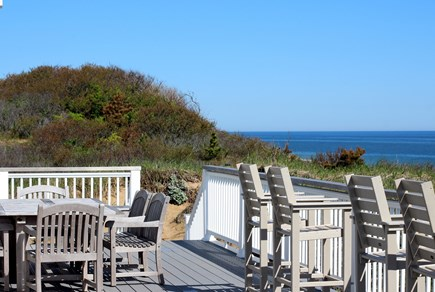 Truro Cape Cod vacation rental - Outdoor Dining Area With Panoramic Ocean & Dune Views